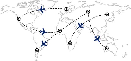 Itinéraires de vol et combinaisons à travers le monde